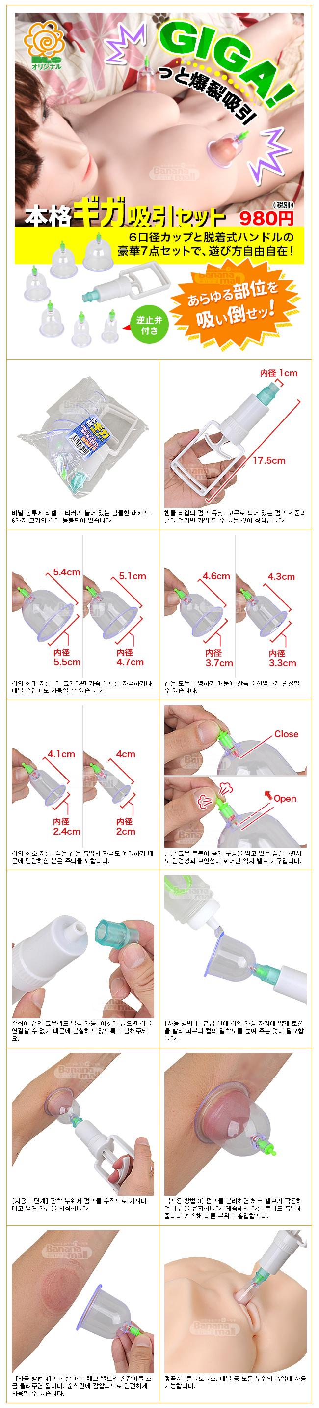 [일본 직수입] 본격 기가 흡입 세트(本格ギガ吸引セット) - 6가지 크기 컵