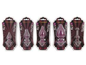 ずらり並んだ5種類のバリエーション。落ち着いたトーンの高級感のあるパッケージは、アナル紳士・淑女に最適。
