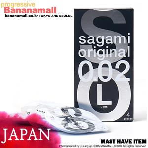 [일본 사가미] 오리지날002 블랙 1box(4p) - 0.02mm 얇은콘돔 라지 사이즈<img src=https://cdn-banana.bizhost.kr/banana_img/mhimg/icon3.gif border=0>