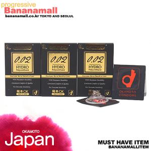 [일본 오카모토] 하이드로 폴리우레탄 0.02mm - 초박형 열전도 콘돔 3box(9p)